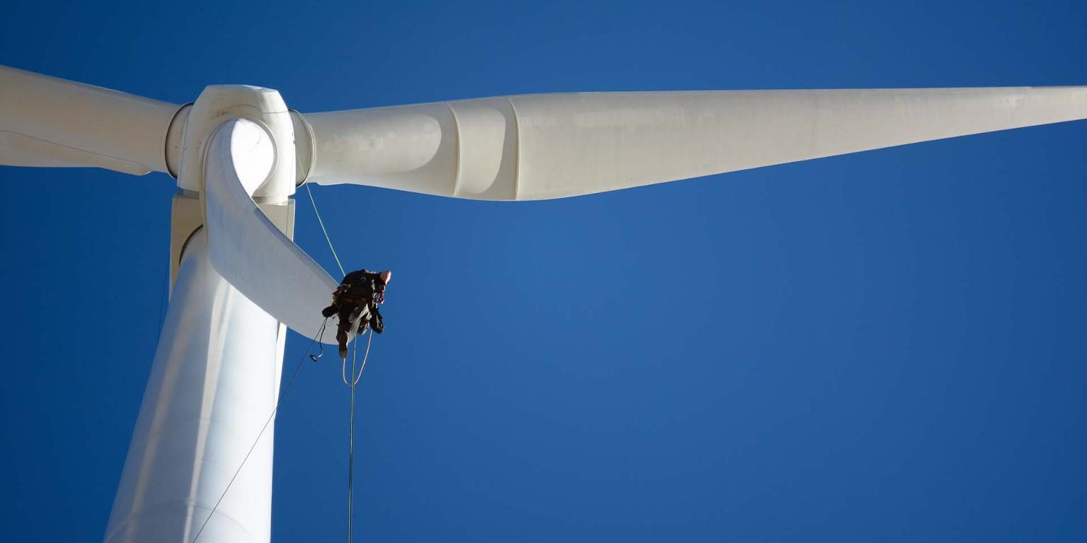 Voorbeeld windturbine inspectie met rope access